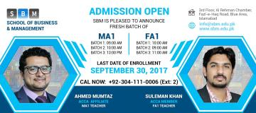 SBM offers fresh batches of FA1 and MA1 from 30th Sep