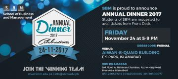 SBM is proud to announce Annual Dinner 2017 Celebrations