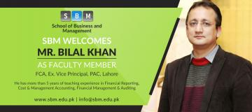 Mr Bilal Khan has joined SBM as Faculty Member