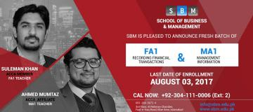 SBM offers fresh batches of FA1 and MA1 from 3rd August