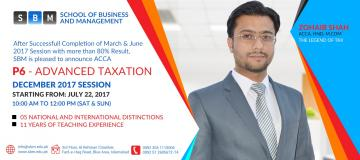 SBM is commencing Dec 2017 Session of ACCA P6