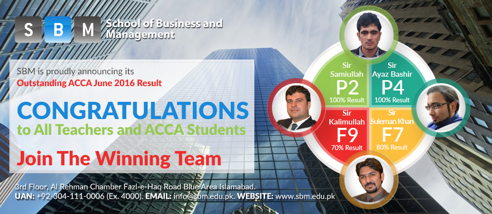 SBM is proudly announcing its Outstanding ACCA June 2016 result