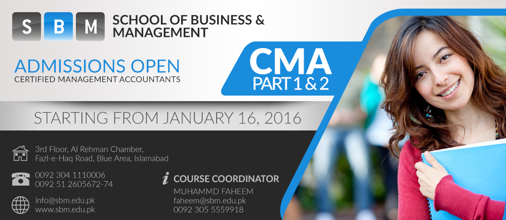 Admission are open in CMA Part 1 and Part 2