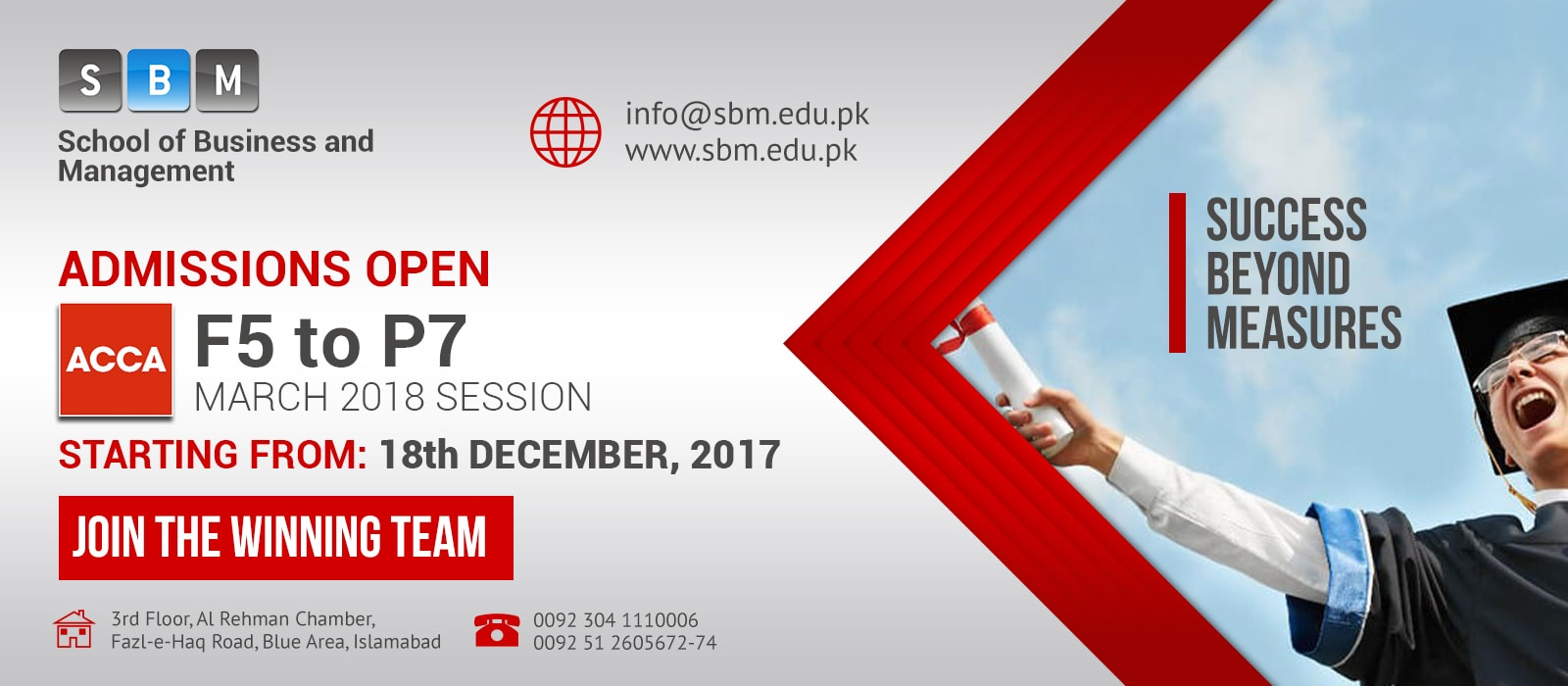Admissions are open in ACCA from F5 to P7 for March 2018