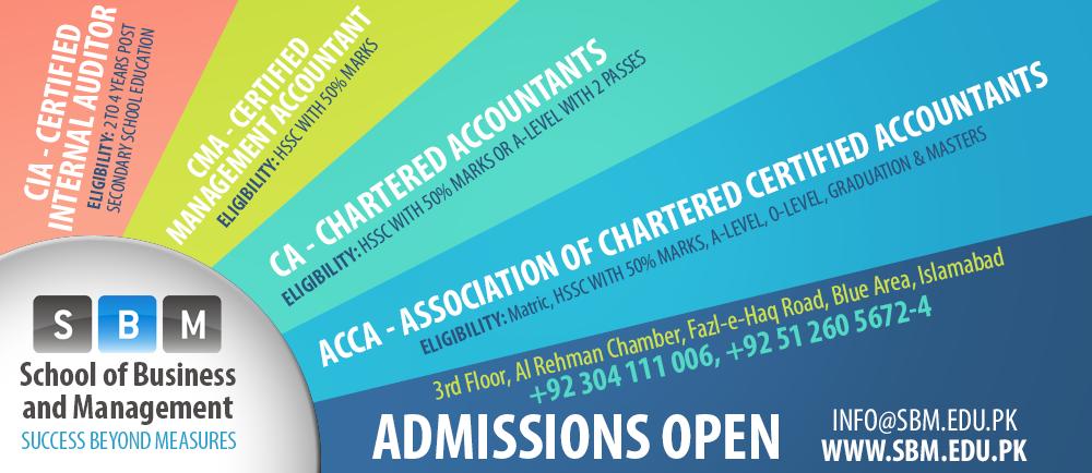 SBM Announces Admissions in ACCA, CA, CIA, CMA and CIMA