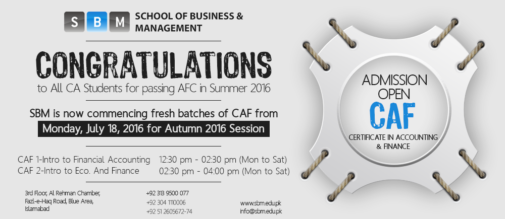 New Batch of CAF starting from July 18, 2016