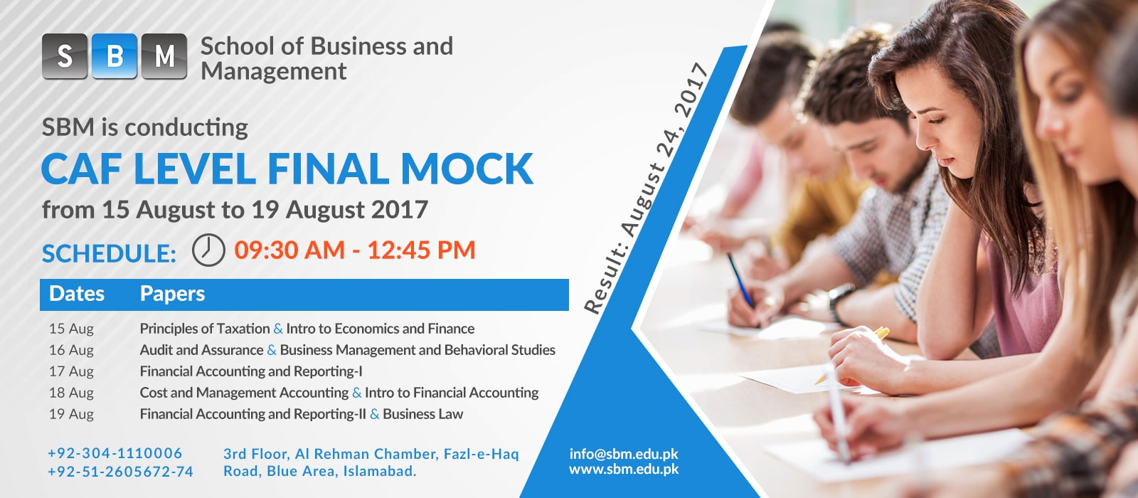 SBM is conducting final mock exam for CAF level students