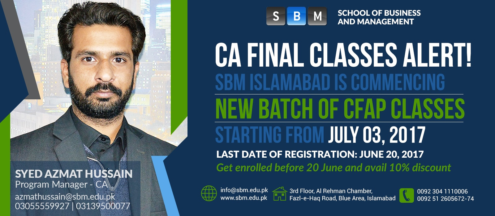 CFAP classes starting from July 03, 2017