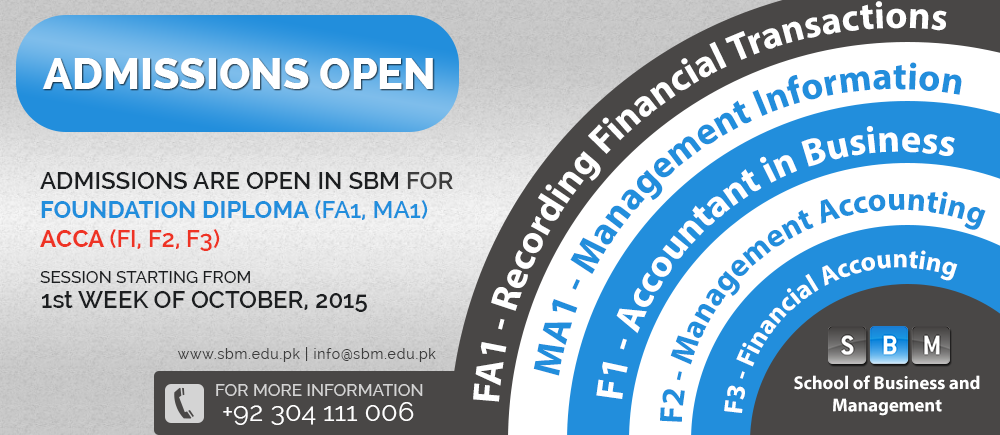 Admissions are open for FA1, MA1 and F1, F2, F3