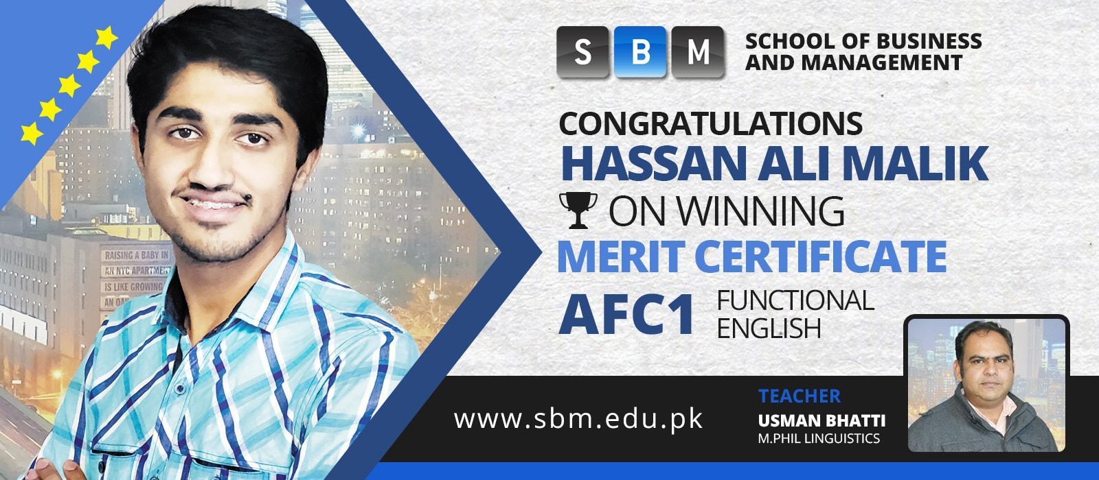 SBM's Student, Hassan Ali Malik, Wins Merit Certificate