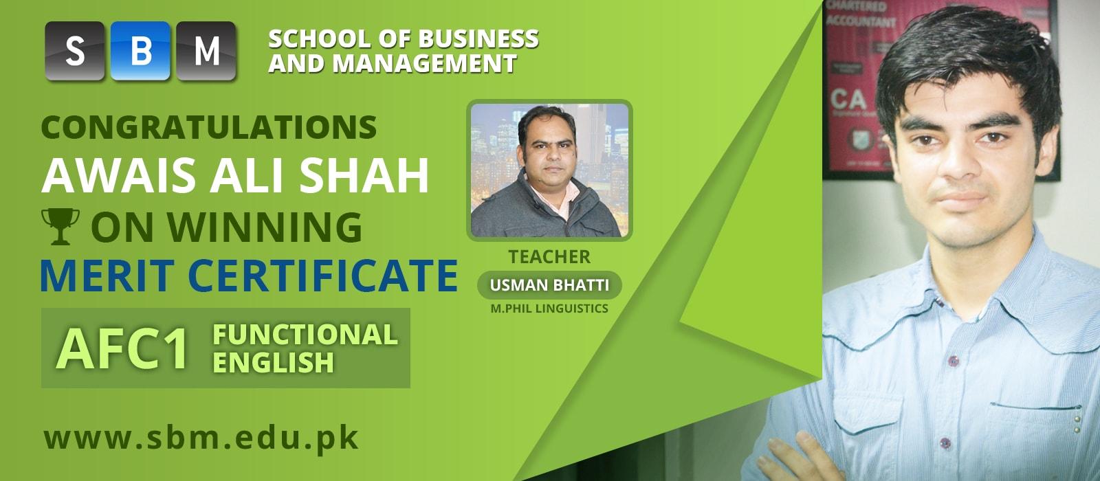 SBM's Student, Awais Ali Shah, Wins Merit Certificate