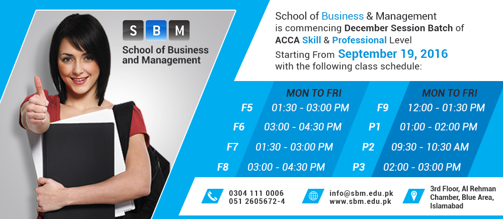 SBM is commencing new batch for ACCA Skill and Professional Level