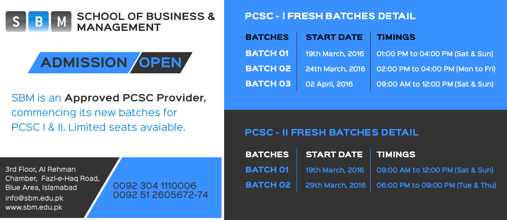 SBM is commencing new batches of PCSC I & II