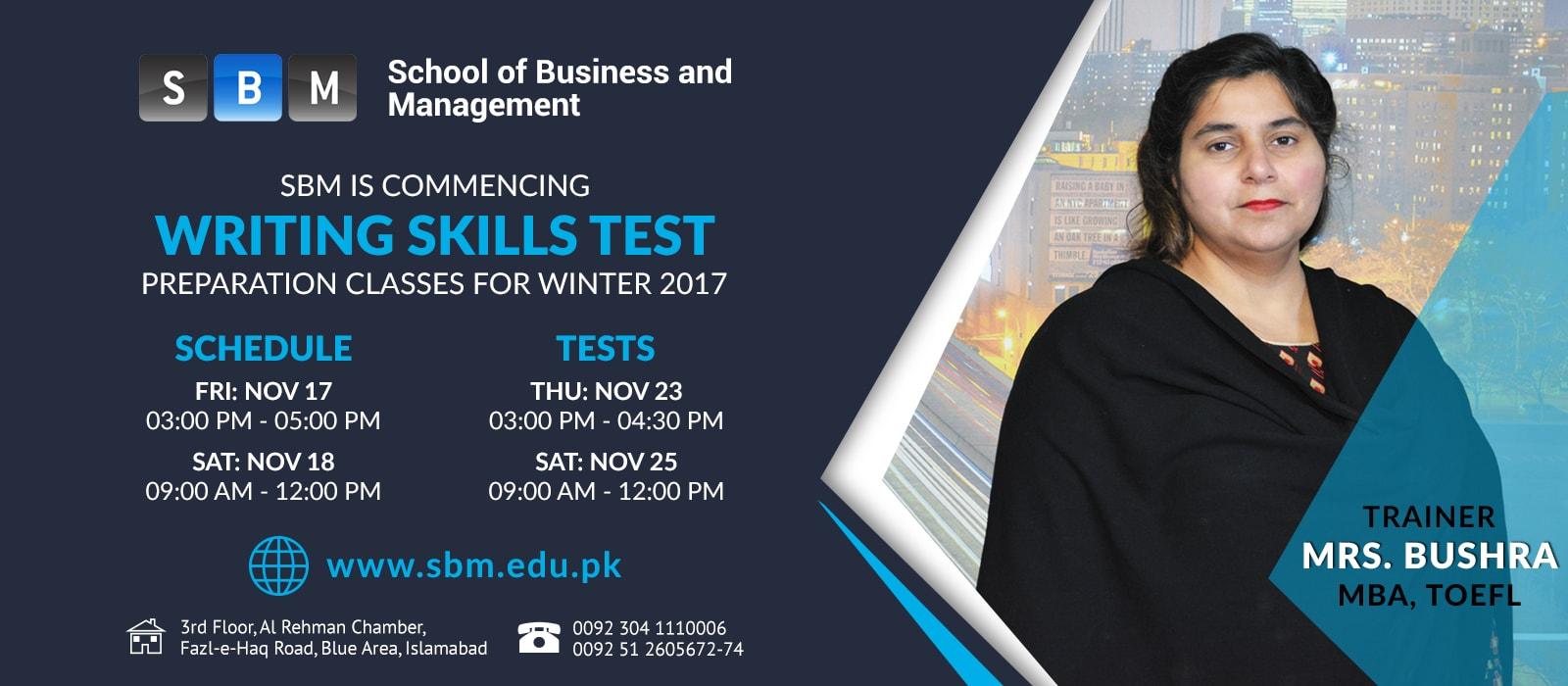Writing Skills Test Classes starting from 17 Nov