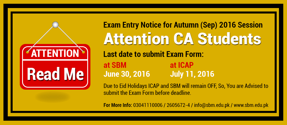 Exam Entry Notice for Autumn (Sep) 2016 Session